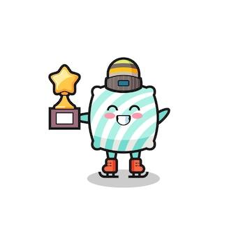 Il cartone animato del cuscino come un giocatore di pattinaggio sul ghiaccio tiene il trofeo del vincitore, un design in stile carino per maglietta, adesivo, elemento logo