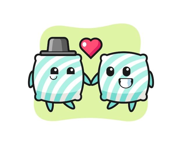Coppia di personaggi dei cartoni animati con cuscino con gesto di innamoramento, design in stile carino per maglietta, adesivo, elemento logo