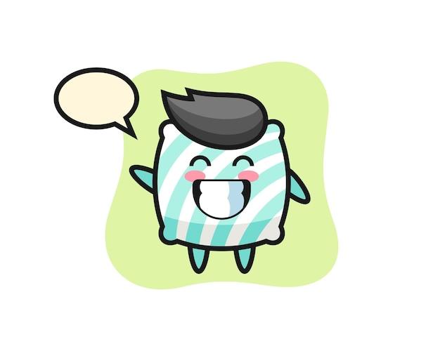 Personaggio dei cartoni animati del cuscino che fa il gesto della mano dell'onda, design in stile carino per maglietta, adesivo, elemento logo