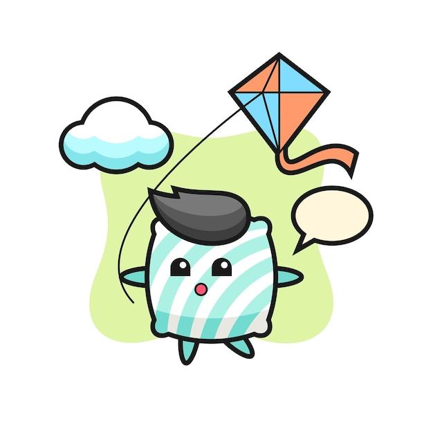 L'illustrazione della mascotte del cuscino sta giocando a un aquilone, un design in stile carino per maglietta, adesivo, elemento logo