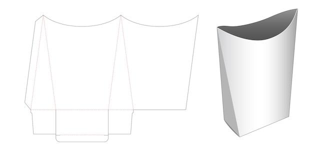 Modello fustellato di contenitore per snack a forma di cuscino