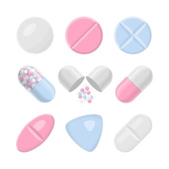 Insieme realistico variopinto dell'icona delle pillole e delle droghe