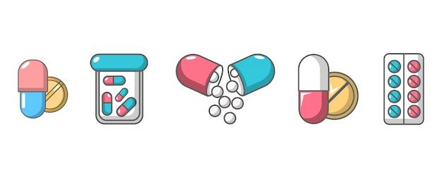 Set di icone di pillole. l'insieme del fumetto delle icone di vettore delle pillole ha messo isolato