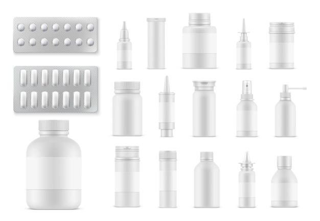 Bottiglie e confezioni realistiche di pillole e medicinali