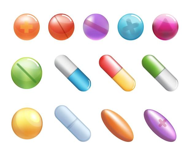 Pillole. medicina sanitaria vitamine e capsule di antibiotici, antidolorifici farmaceutici o farmaci