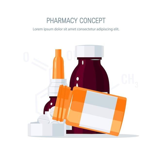 Pillole che fuoriescono dalla bottiglia del farmaco nel coperchio e nelle fiale di vetro.