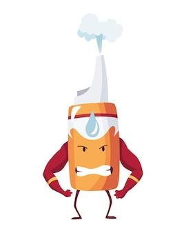 Pillole super eroe. simpatico personaggio dei cartoni animati con faccia arrabbiata. il flacone spray come un superuomo mostra i bicipiti. medicinale forte aiuto