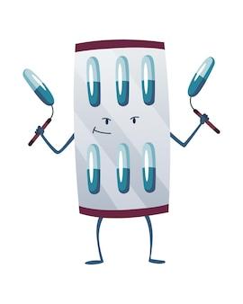 Pillole super eroe. simpatico personaggio dei cartoni animati con faccina sorridente. blister con capsula come un superuomo