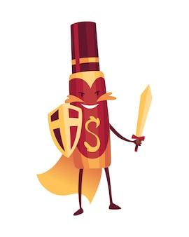 Pillole super eroe. simpatico personaggio dei cartoni animati con faccina sorridente. flacone spray come un superuomo con un mantello. medicinale forte aiuto.