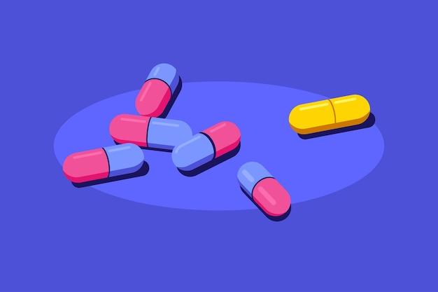 Pillole e compresse di farmaci su sfondo blu. farmaco, concetto farmaceutico. illustrazione di stile piatto.