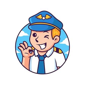 Cartone animato pilota con posa carina. illustrazione dell'icona. persona icona concetto isolato