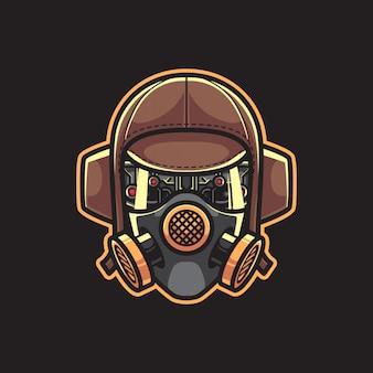 Robot pilota con maschera antigas