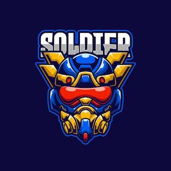 Modello di logo di e-sport del soldato pilota