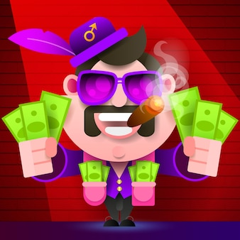 Pappa e soldi. tasca piena di contanti. abbigliamento luminoso e sigaro. gioielli con catena dollaro d'oro. bel ragazzo nero