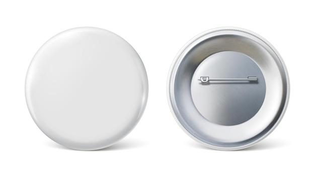 Modello di spilla distintivo distintivo rotondo bianco su spilla in metallo