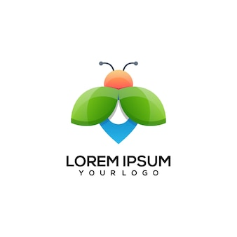 Pin bee logo design colorato