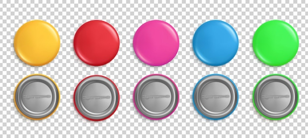 Bottoni a spillo. distintivi rotondi, magneti colorati lucidi circolari.