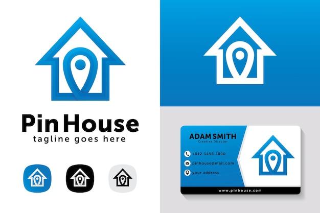 Modello di progettazione di logo di casa pin