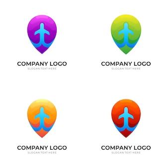 Posizione del pin e modello di logo dell'aeroplano con stile colorato 3d