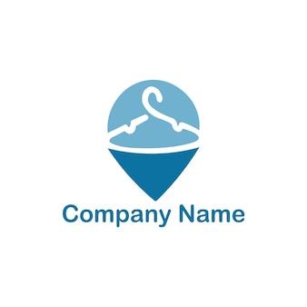Pin location servizi di lavanderia logo design template