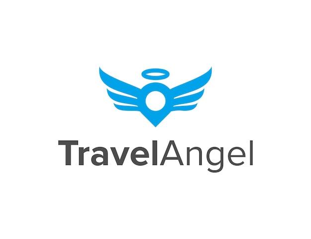 Pin location travel e angel semplice elegante design geometrico creativo moderno logo