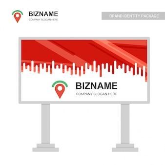 Logo pin e design di cartelloni pubblicitari