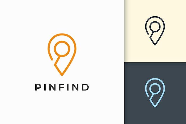 Pin logo o marcatore in linea semplice e forma moderna rappresentano mappa o posizione