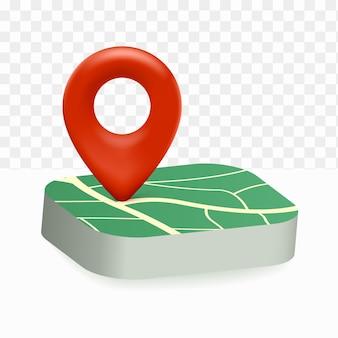 Pin mappa icona posizione 3d su sfondo bianco trasparente