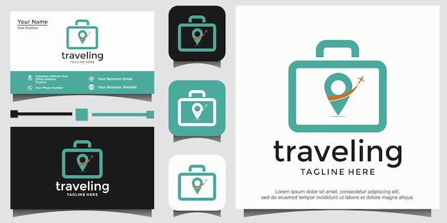 Pin mappa navigazione con aereo e borsa logo vettoriale