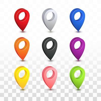 Collezione di icone 3d posizione posizione mappa pin