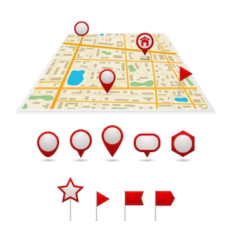 Set di icone puntatore mappa pin