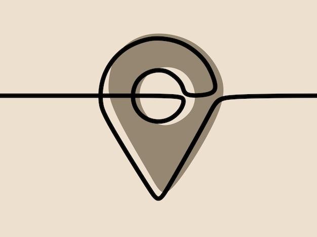 Pin mark simbolo posizione oneline linea continua arte