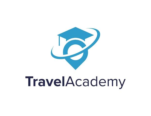 Spilla da viaggio e cappello da laurea semplice elegante design geometrico creativo moderno logo