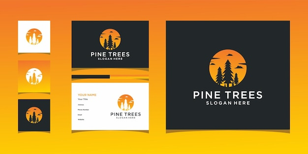 Disegno del logo tramonto albero pin