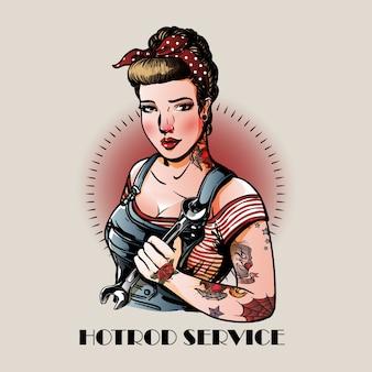 Pin up girl hot rod service