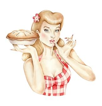 Appuntare la ragazza con la torta in mano