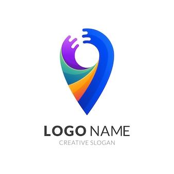 Concetto di logo pin e acqua, stile moderno logo 3d in colori vivaci sfumati