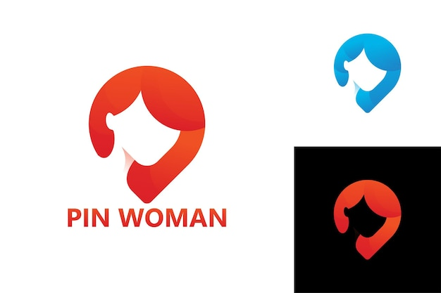 Pin donna logo modello premium vector