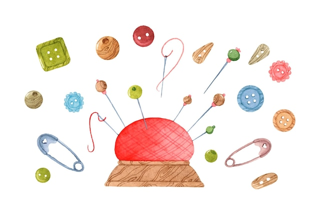 Puntaspilli con aghi e pulsanti insieme di elementi dell'acquerello