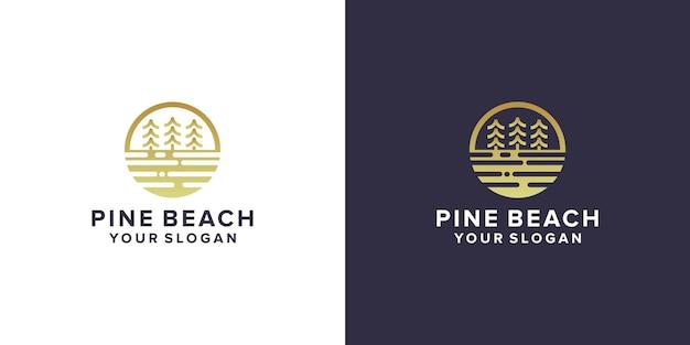 Design del logo della spiaggia di pino