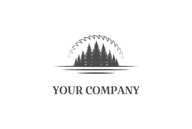 Pino cedro conifera sempreverde larice cipresso abete rosso abete foresta con tramonto alba lama circolare per legname log logo design vettoriale