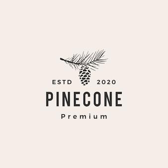 Illustrazione di icona logo vintage hipster cono di pino