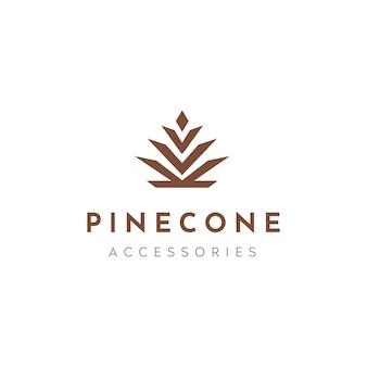 Logo elegante di lusso di cono di pino conifera