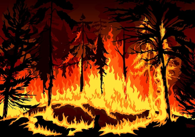 Incendio di foreste di pini, disastro di pericolo di incendi boschivi con alberi in fiamme, erba e cespugli, disastro naturale di sfondo vettoriale di foresta in fiamme in fiamme di fuoco, catastrofe dell'ecologia della natura e dell'ambiente