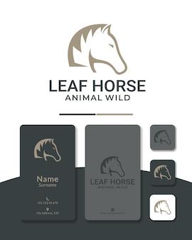 Design del logo del cavallo in pelo di pino per il logo dell'agricoltura