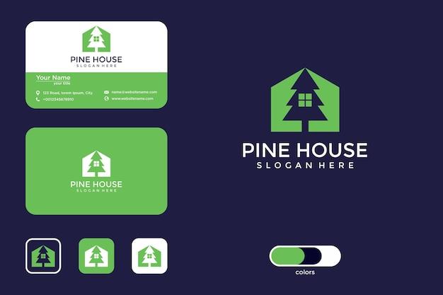 Design del logo della casa di pino e biglietto da visita