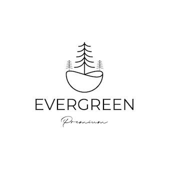 Vettore di progettazione del logo del bosco sempreverde del pino