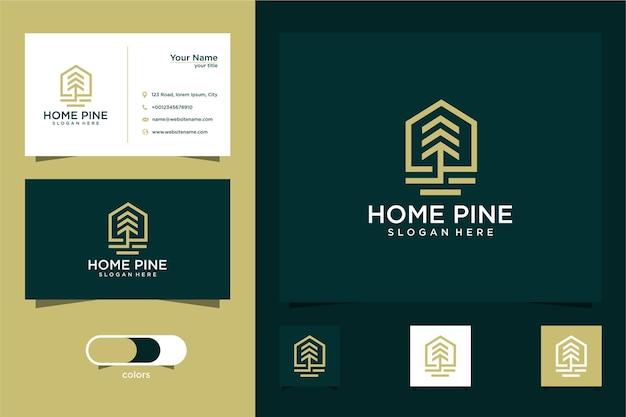 Biglietto da visita di fine modello di progettazione logo albero di pino e casa