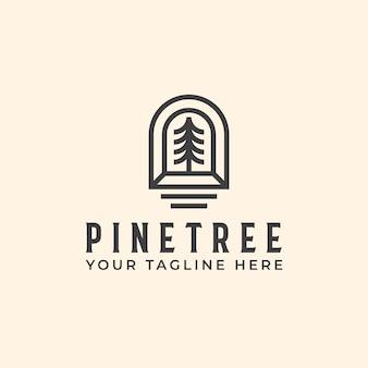 Modello di logo monoline albero di pino