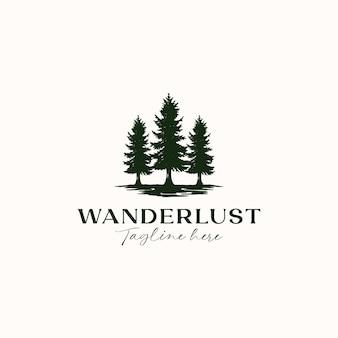 Modello di logo di pino vintage rustico hipster isolato in sfondo bianco